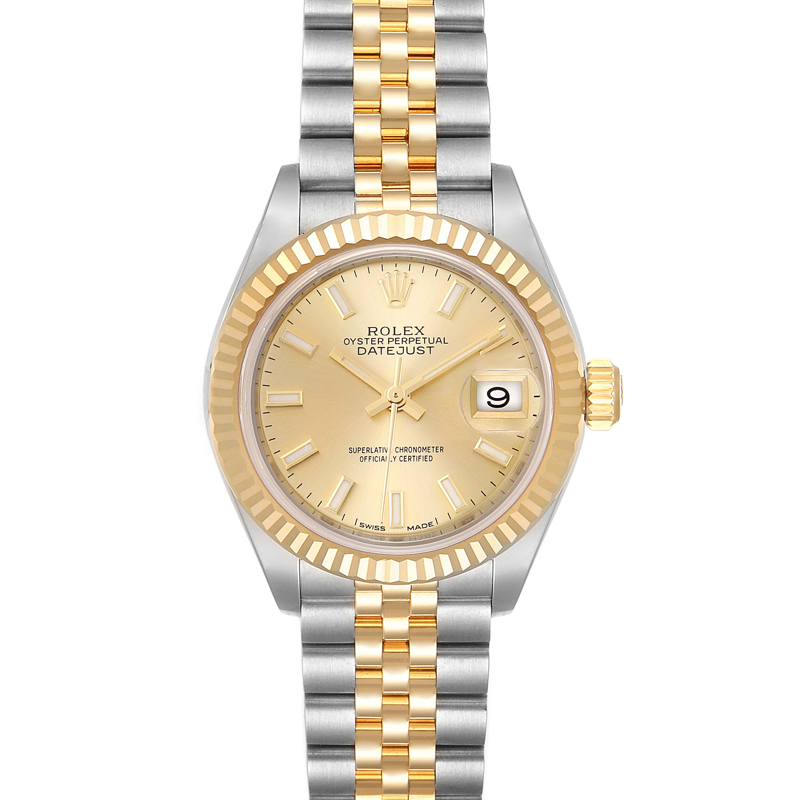 Rolex Datejust 28 Steel Yellow Gold Champagne Dial Ladies Watch 279173 Unworn SwissWatchExpo