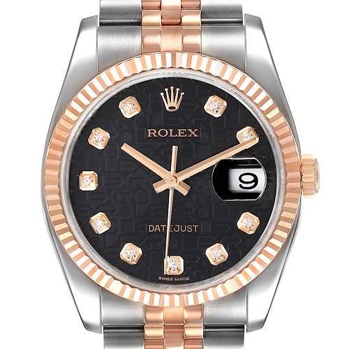 Photo of Rolex Datejust 36mm Dial Steel Rose Gold Diamond Watch 116231 Box Card