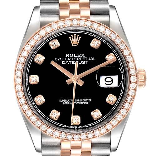 Photo of Rolex Datejust Black Diamond Dial Steel EveRose Gold Watch 126281 Box Card