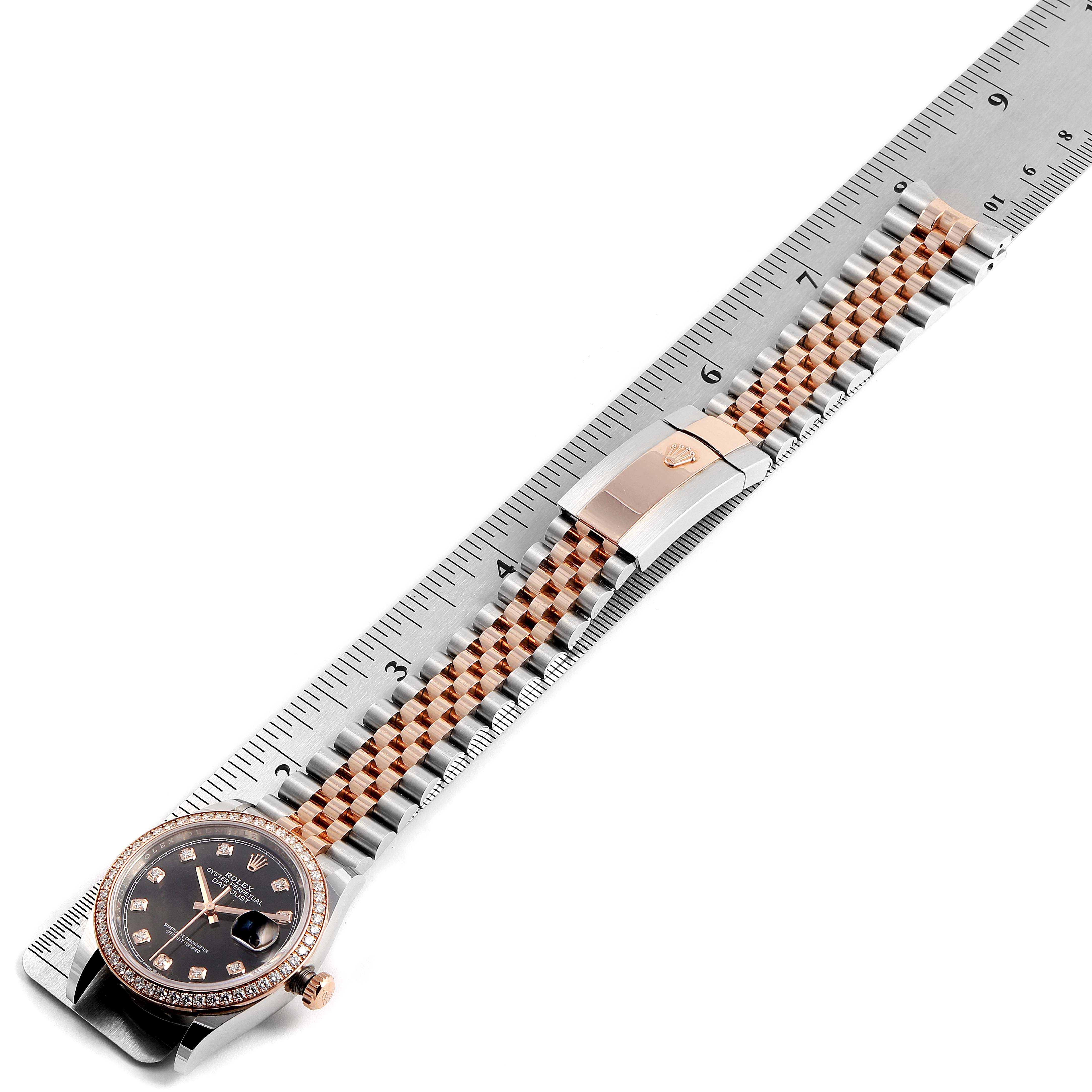 Rolex Datejust Black Diamond Dial Steel EveRose Gold Watch 126281 Box Card SwissWatchExpo