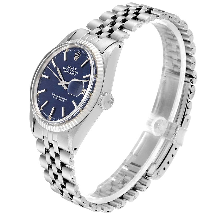 Rolex Datejust Steel White Gold Blue Brick Dial Vintage Watch 1601 SwissWatchExpo
