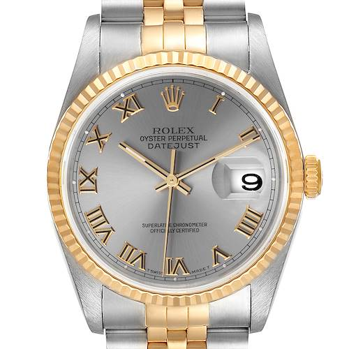 Photo of Rolex Datejust Steel Yellow Gold Slate Roman Dial Mens Watch 16233