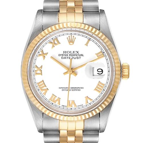 Photo of Rolex Datejust Steel Yellow Gold White Dial Vintage Mens Watch 16013