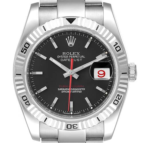 Photo of Rolex Datejust Turnograph Black Dial Steel Mens Watch 116264 Box Card