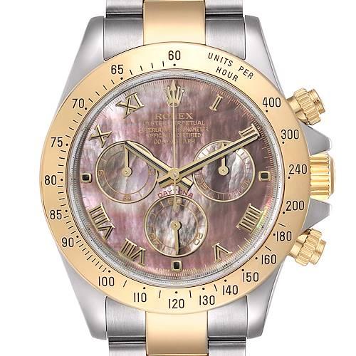 Photo of Rolex Daytona Steel Yellow Gold MOP Dial Chronograph Mens Watch 116523