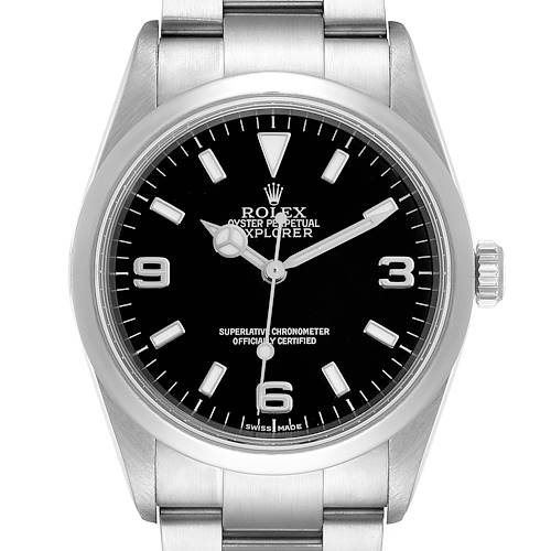 Photo of Rolex Explorer I Black Dial Stainless Steel Mens Watch 114270 Box Card