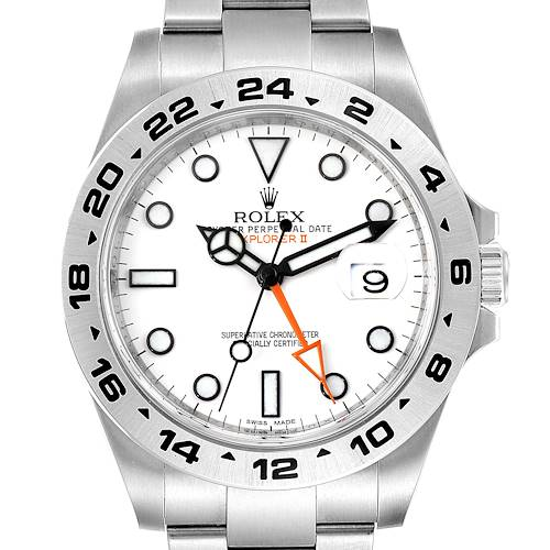 Photo of Rolex Explorer II 42 White Dial Orange Hand Steel Mens Watch 216570 Box Card