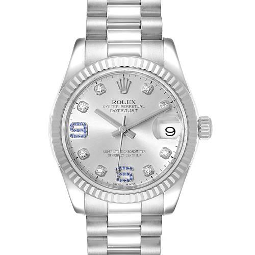 Photo of Rolex President Midsize White Gold Sapphire Diamond Ladies Watch 178279 Box Card