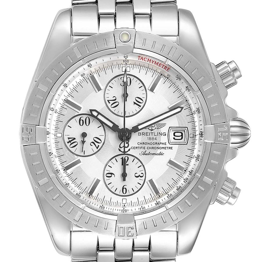 Breitling Chronomat Evolution Silver Dial Steel Mens Watch A13356 SwissWatchExpo