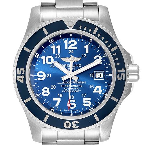 Photo of Breitling Superocean II 44 Gun Blue Dial Mens Watch A17392 Box Card