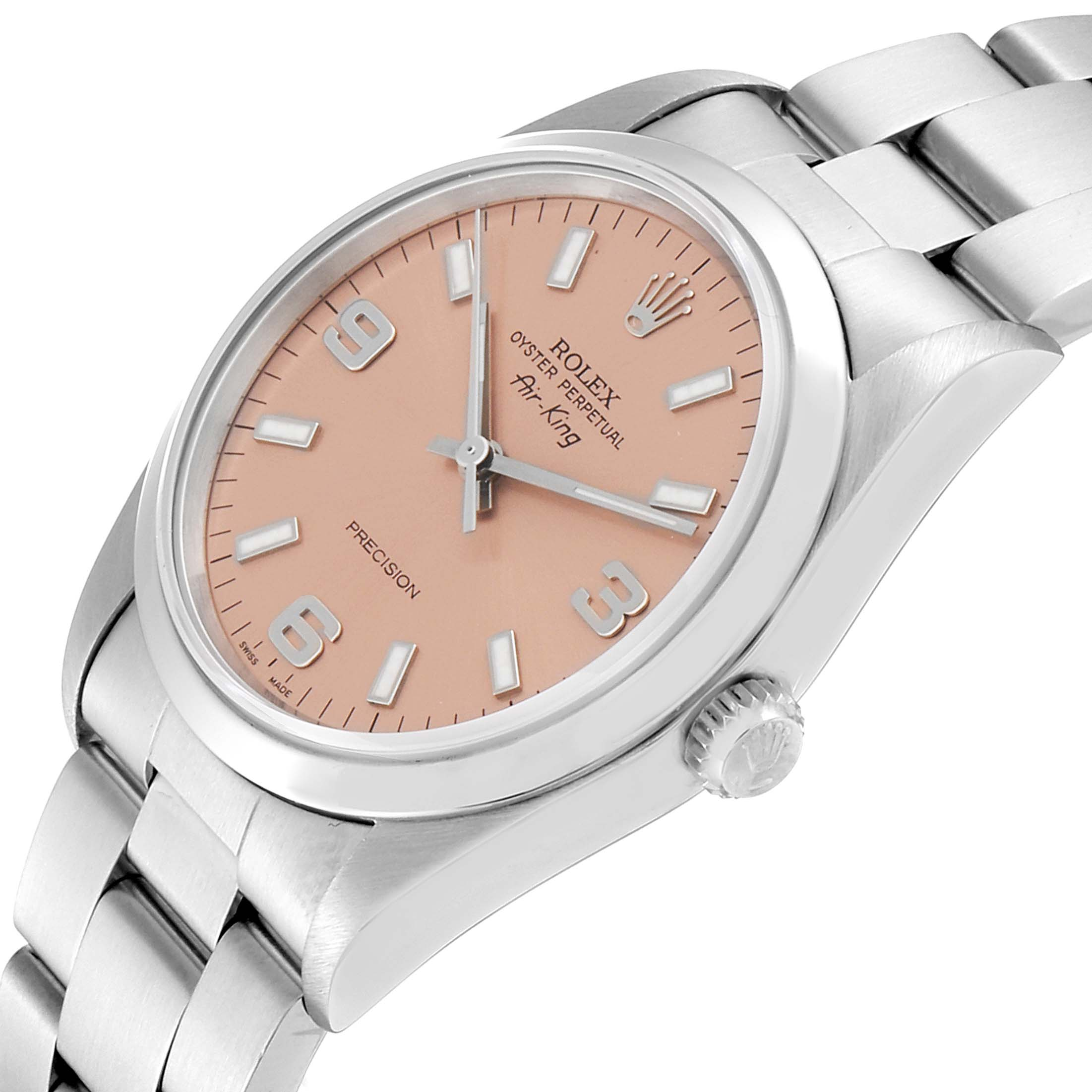 Rolex Air King 34 Salmon Dial Domed Bezel Steel Unisex Watch 14000 SwissWatchExpo