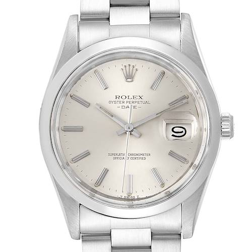 Photo of Rolex Date Stainless Steel Silver Dial Vintage Mens Watch 15000