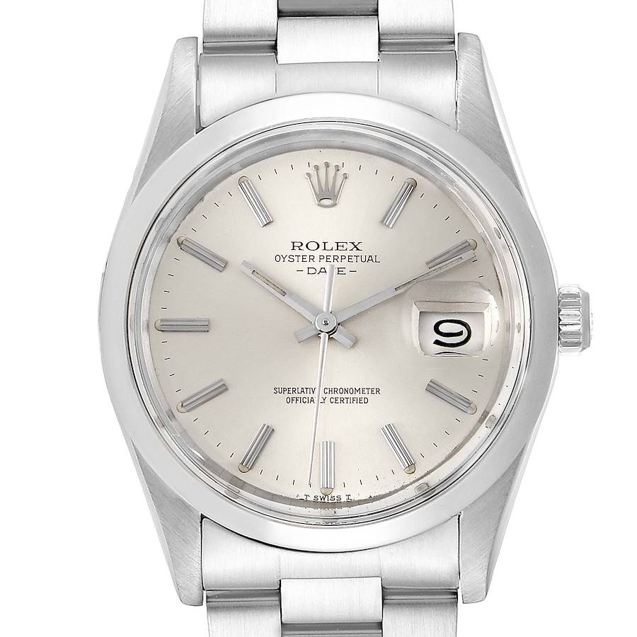 Rolex Date Stainless Steel Silver Dial Vintage Mens Watch 15000 SwissWatchExpo