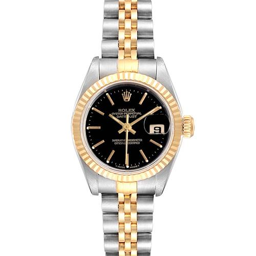 Photo of Rolex Datejust Steel Yellow Gold Black Dial Ladies Watch 69173