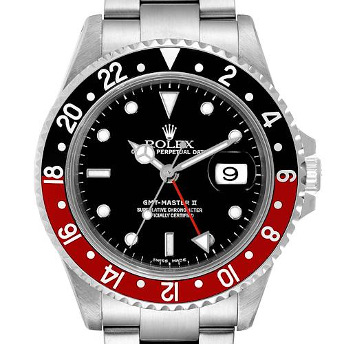 Photo of Rolex GMT Master II Black Red Coke Steel Mens Watch 16710 Box Papers