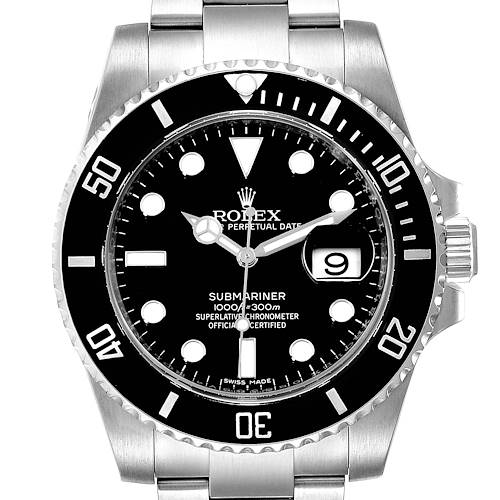 Photo of Rolex Submariner Ceramic Bezel Black Dial Steel Mens Watch 116610