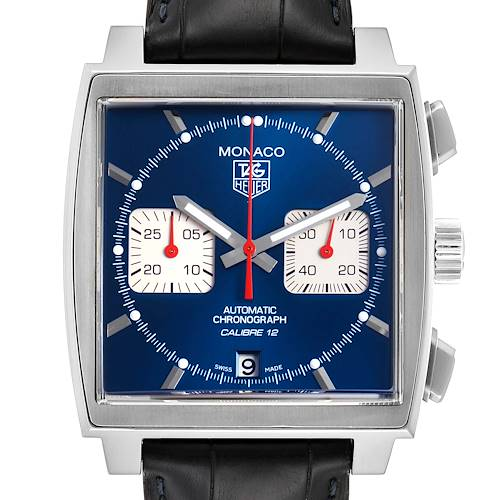 Photo of Tag Heuer Monaco Calibre 12 Blue Dial Black Strap Mens Watch CAW2111 Box Card