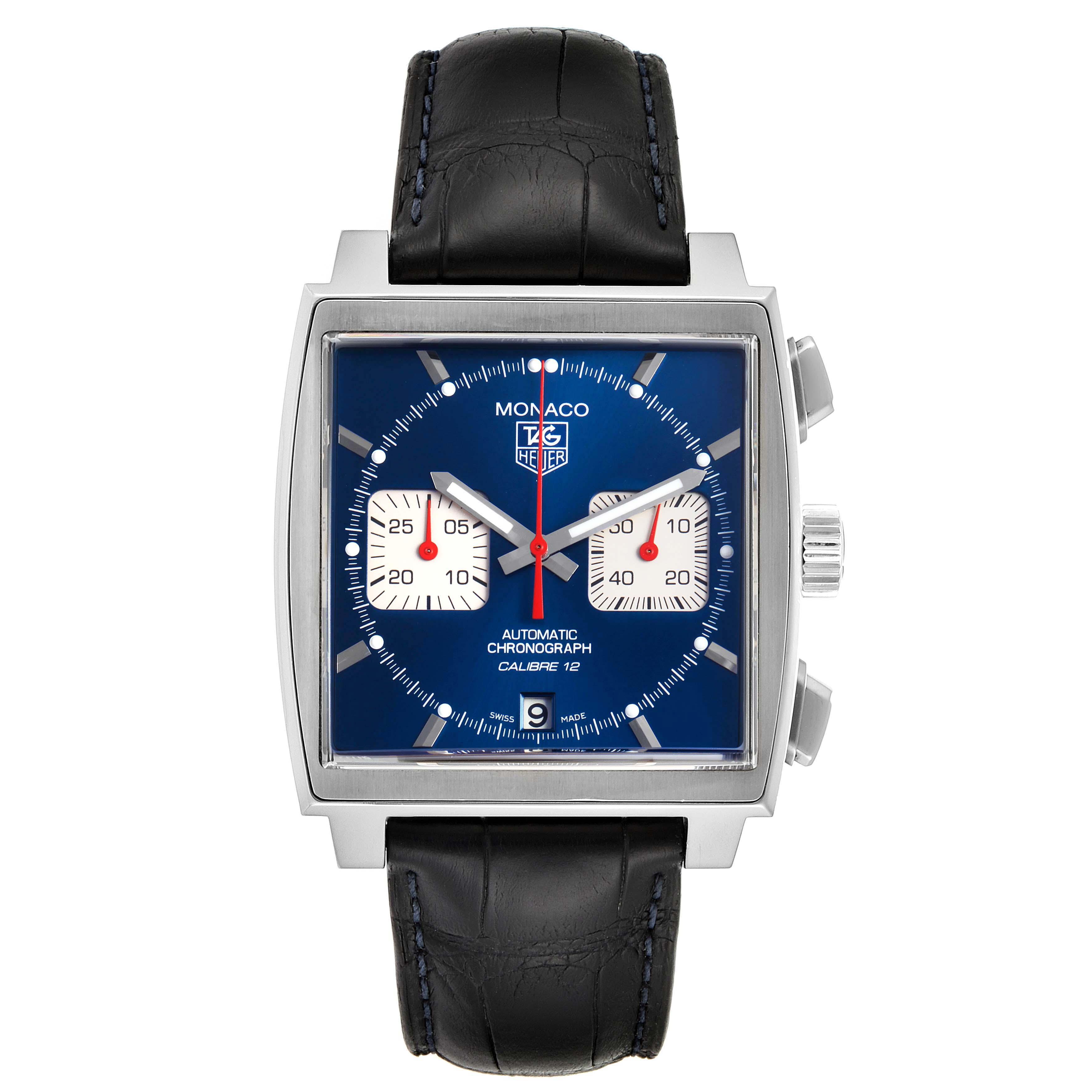 Tag Heuer Monaco Calibre 12 Blue Dial Black Strap Mens Watch CAW2111 Box Card SwissWatchExpo
