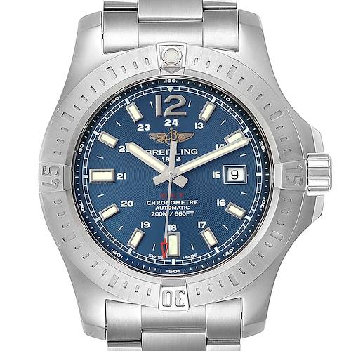 Photo of Breitling Colt Blue Dial Automatic Steel Mens Watch A17388 Box Card