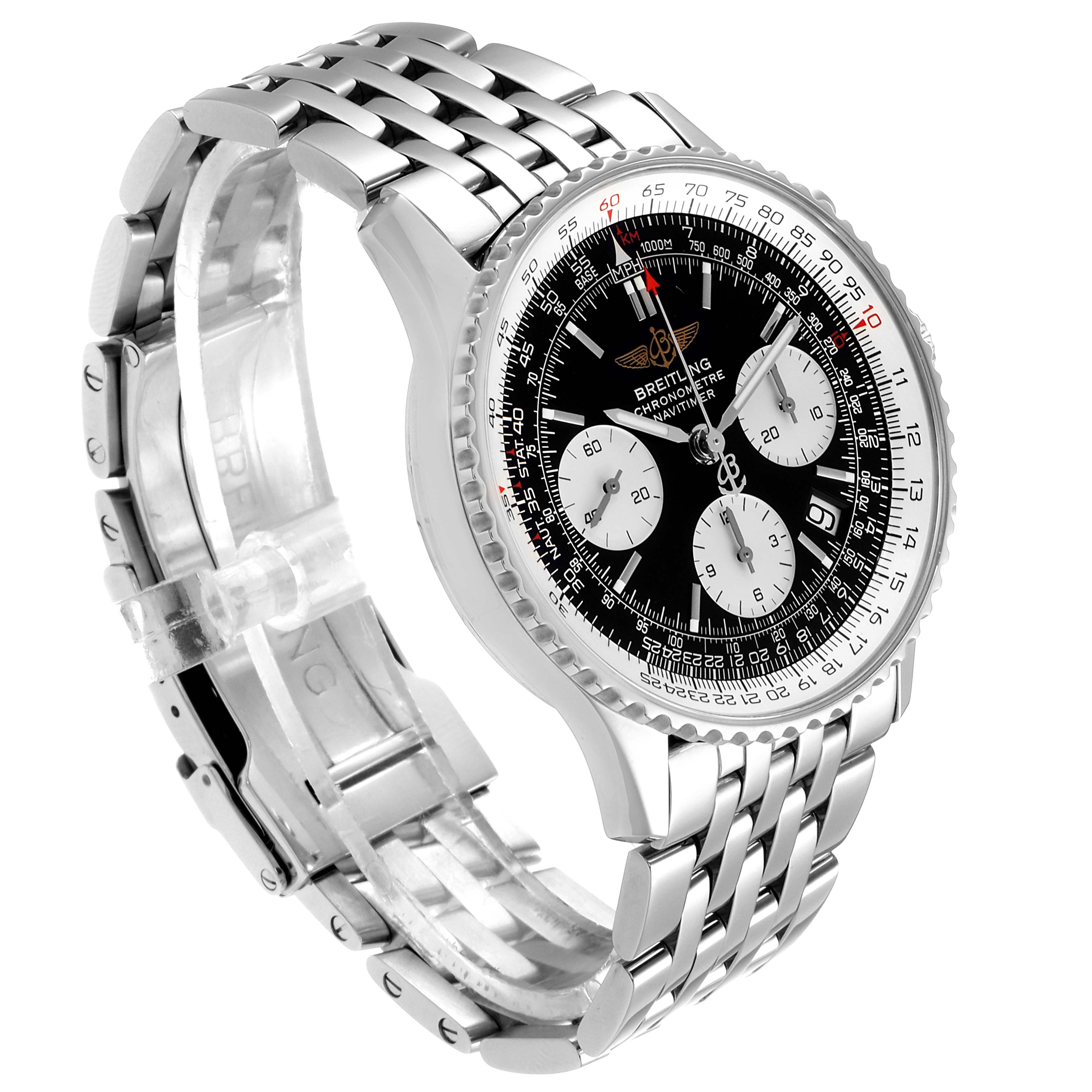 Breitling Navitimer Black Dial Chronograph Steel Mens Watch A23322 Box SwissWatchExpo