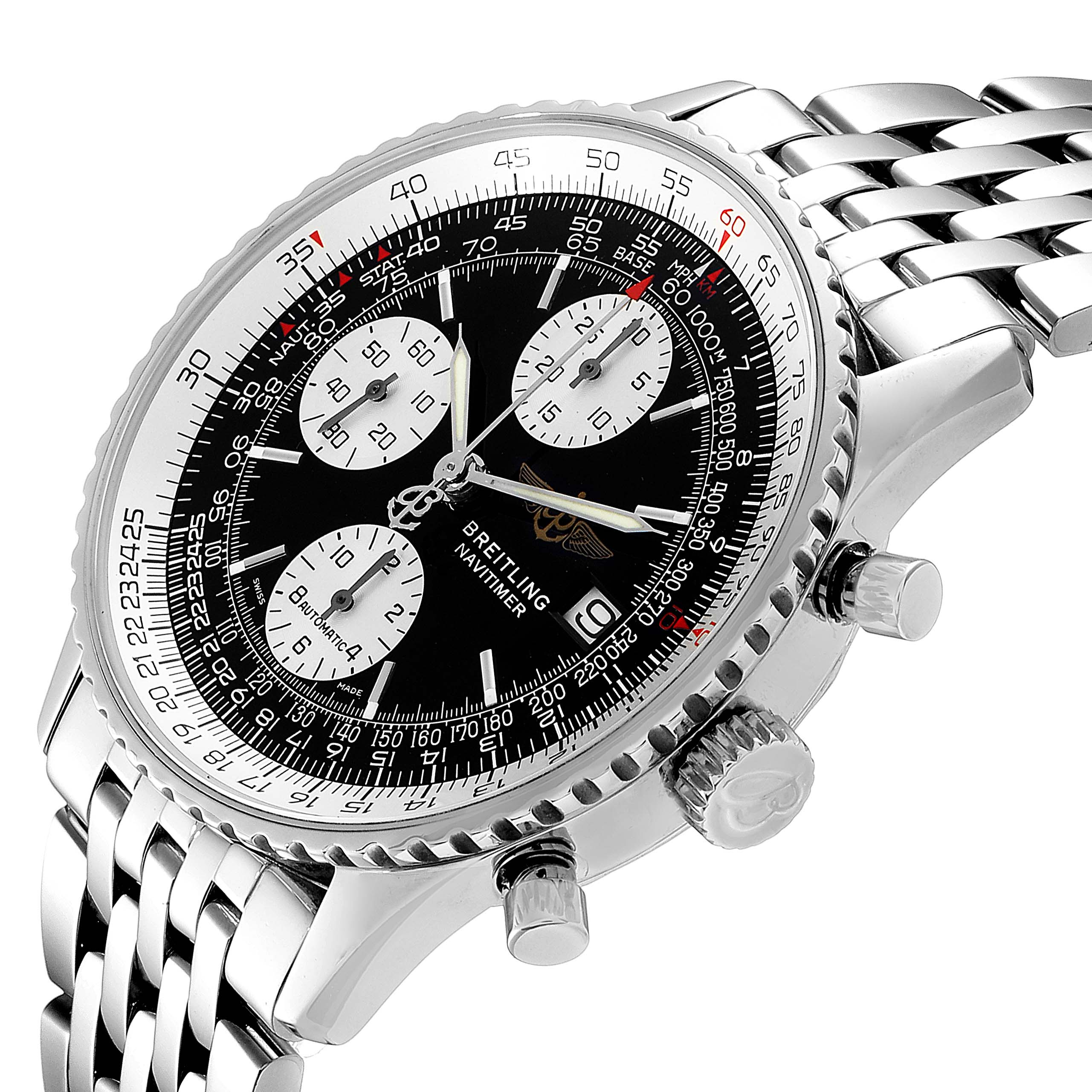 Breitling Navitimer II Black Dial Chronograph Mens Watch A13322 Box SwissWatchExpo
