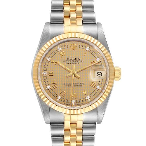 Photo of Rolex Datejust Midsize 31mm Steel Yellow Gold Diamond Ladies Watch 68273