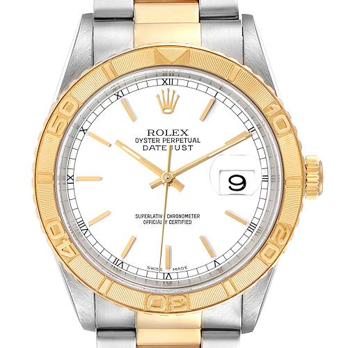 Photo of Rolex Datejust Turnograph Steel Yellow Gold White Dial Mens Watch 16263 Box Papers