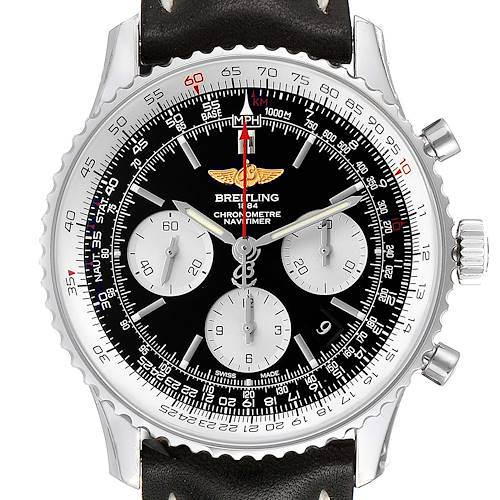 Photo of Breitling Navitimer 01 Black Strap Steel Mens Watch AB0120 Box Card