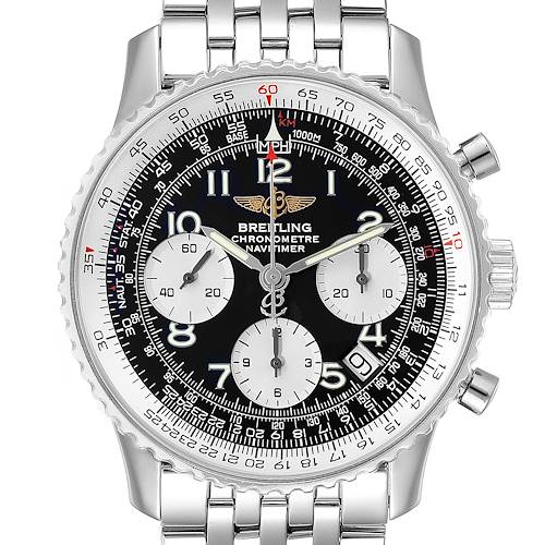 Photo of Breitling Navitimer Black Arabic Dial Steel Mens Watch A23322; 2 LINKS ADDED