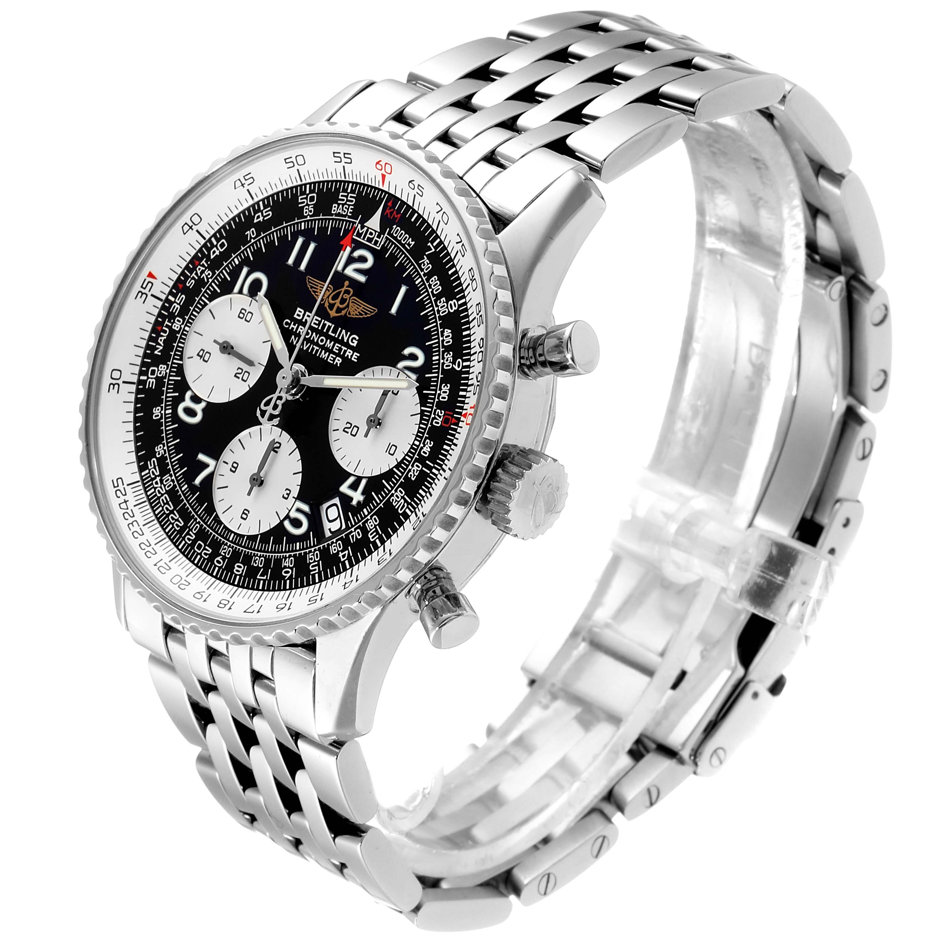 Breitling Navitimer Black Arabic Dial Steel Mens Watch A23322; 2 LINKS ADDED SwissWatchExpo