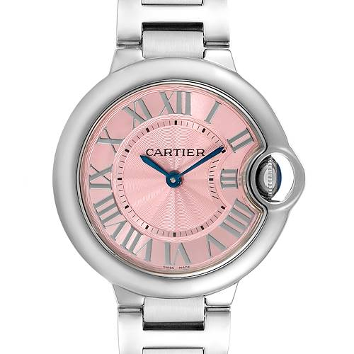 Cartier Ballon Bleu 33 Pink Dial Steel Ladies Watch WSBB0033