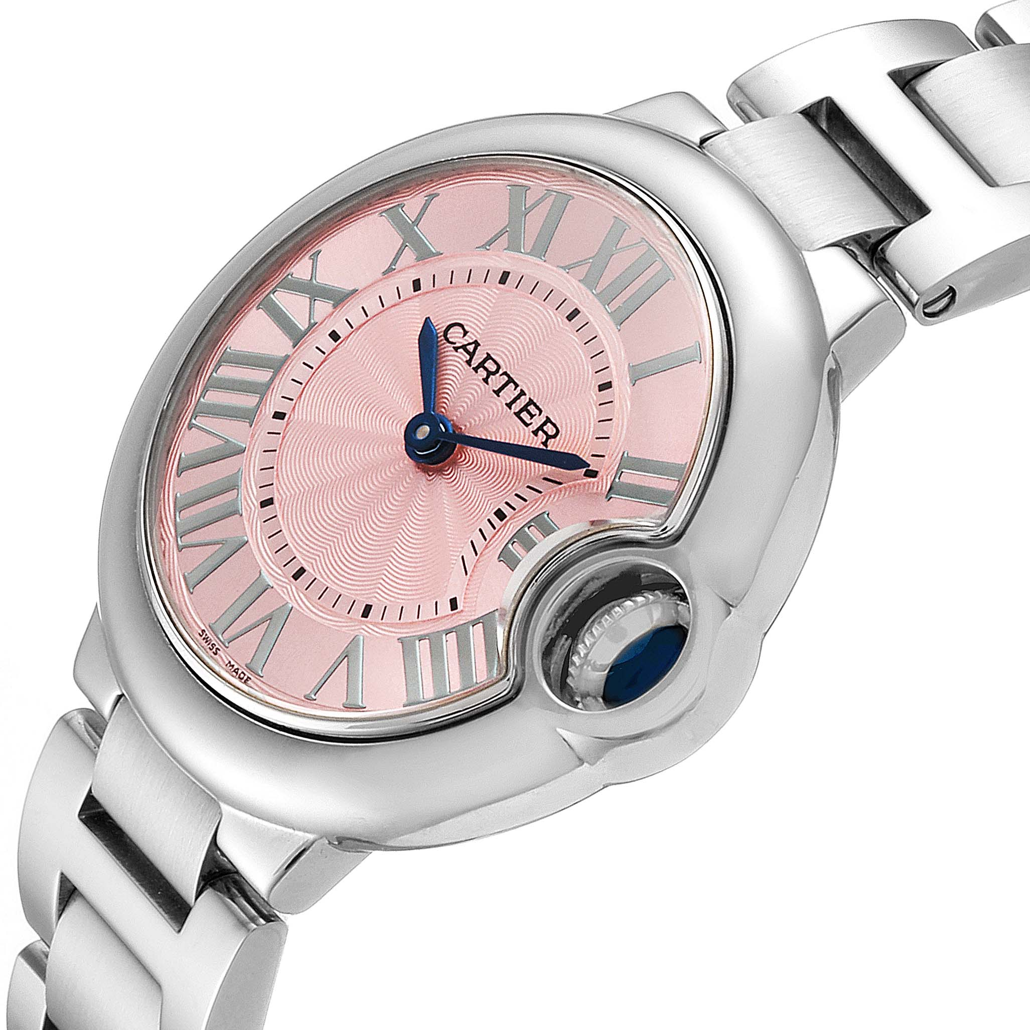 Cartier Ballon Bleu 33 Pink Dial Steel Ladies Watch WSBB0033 SwissWatchExpo
