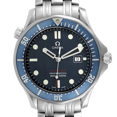 Photo of Omega Seamaster Bond 300M Blue Wave Dial Mens Watch 2221.80.00 Box Card
