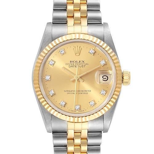 Photo of Rolex Datejust Midsize 31 Steel Yellow Gold Diamond Ladies Watch 68273