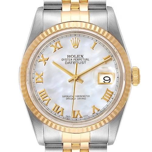 Photo of Rolex Datejust Steel Yellow Gold MOP Roman Dial Mens Watch 16233