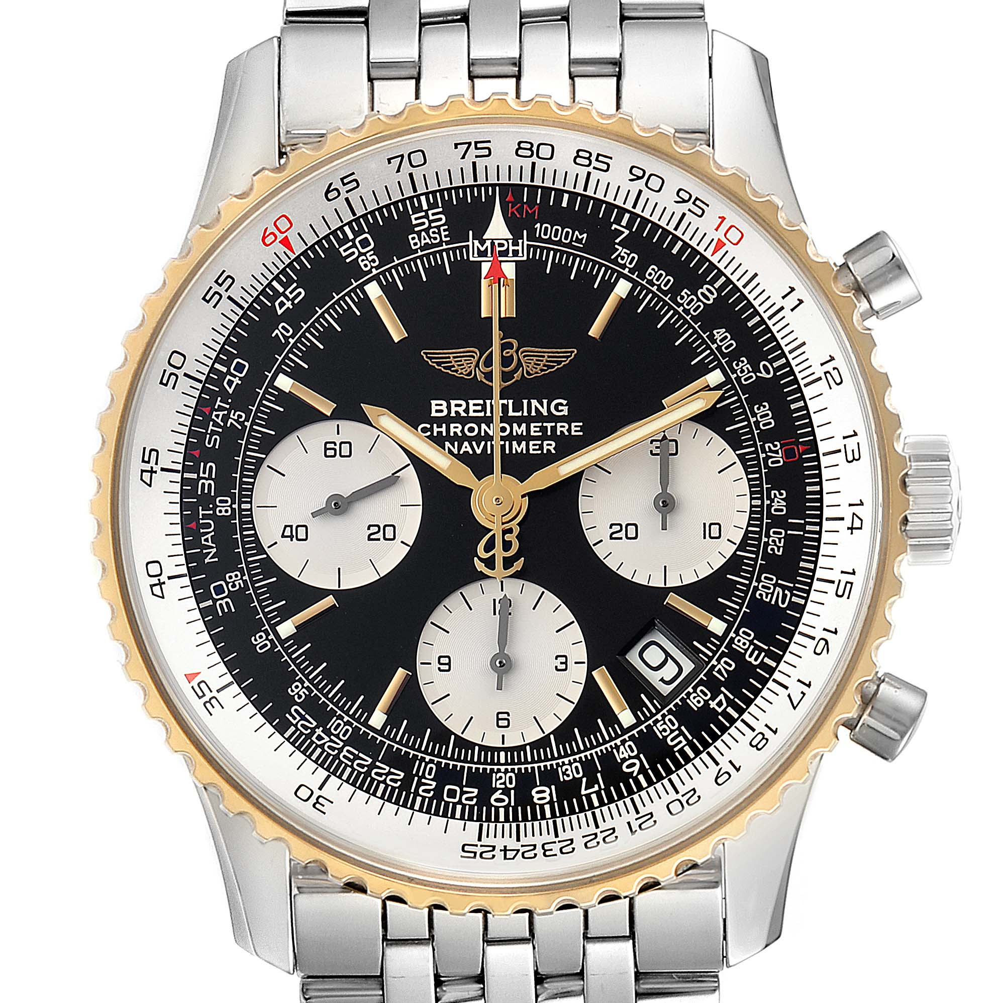 Breitling Navitimer Steel Yellow Gold Black Dial Mens Watch D23322 Box Papers SwissWatchExpo