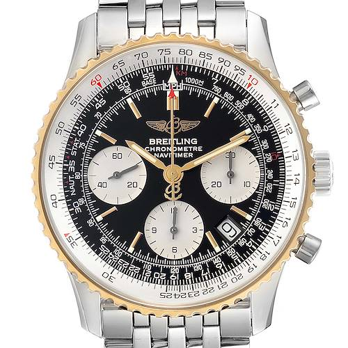 Photo of Breitling Navitimer Steel Yellow Gold Black Dial Mens Watch D23322 Box Papers