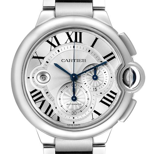 Cartier Ballon Bleu Chronograph Steel Mens Watch W6920076 Box Papers
