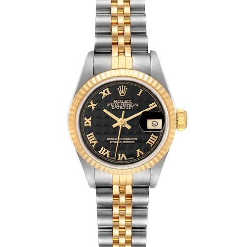 Photo of Rolex Datejust 26 Steel Yellow Gold Black Pyramid Dial Ladies Watch 69173 Box Papers