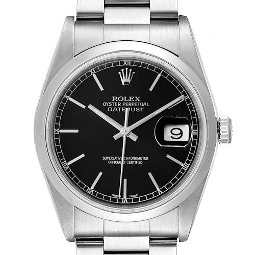 Photo of Rolex Datejust Black Dial Steel Mens Watch 16200 Papers