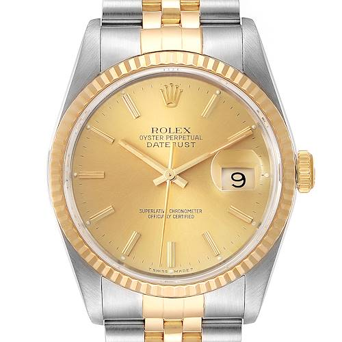 Photo of Rolex Datejust Steel 18K Yellow Gold Fluted Bezel Mens Watch 16233