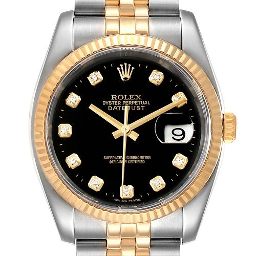 Photo of Rolex Datejust Steel Yellow Gold Black Diamond Mens Watch 116233 Box Papers