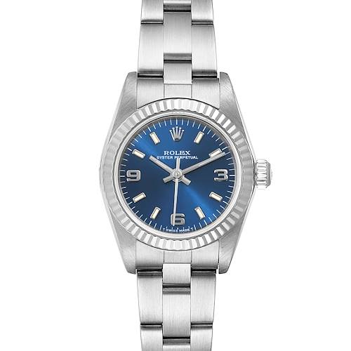 Photo of Rolex Oyster Perpetual Blue Dial Steel White Gold Ladies Watch 76094 Box