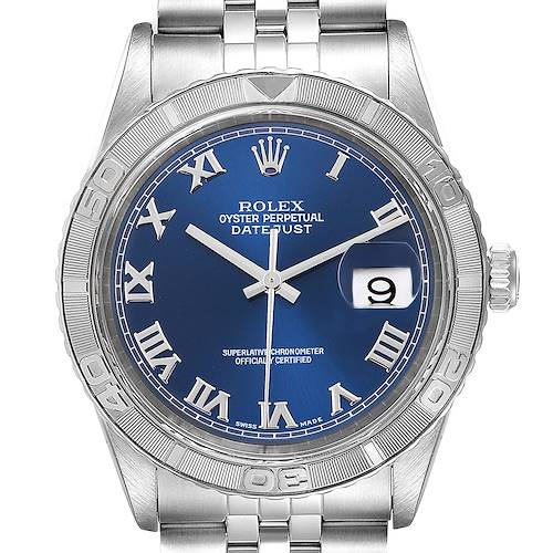 Photo of Rolex Turnograph Datejust Steel White Gold Blue Roman Dial Watch 16264 Box Papers