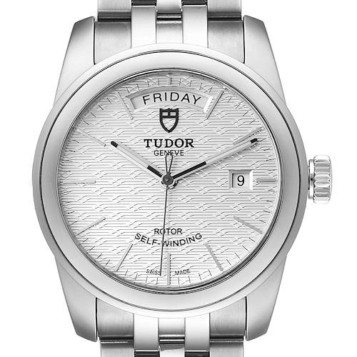 Photo of Tudor Glamour Day Date Steel Silver Dial Mens Watch 56000 Card