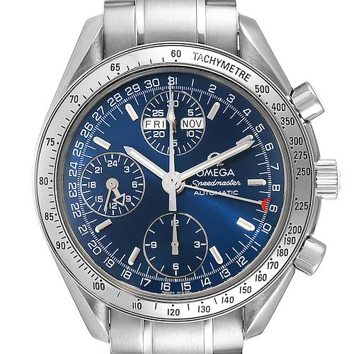 Photo of Omega Speedmaster Day Date Blue Dial Steel Mens Watch 3521.80.00