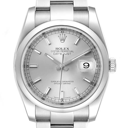 Photo of Rolex Datejust 36 Silver Baton Dial Steel Mens Watch 116200 Box Papers