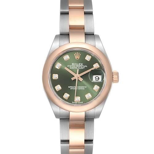 Photo of Rolex Datejust Steel Rose Gold Olive Green Diamond Ladies Watch 279161 Box Card