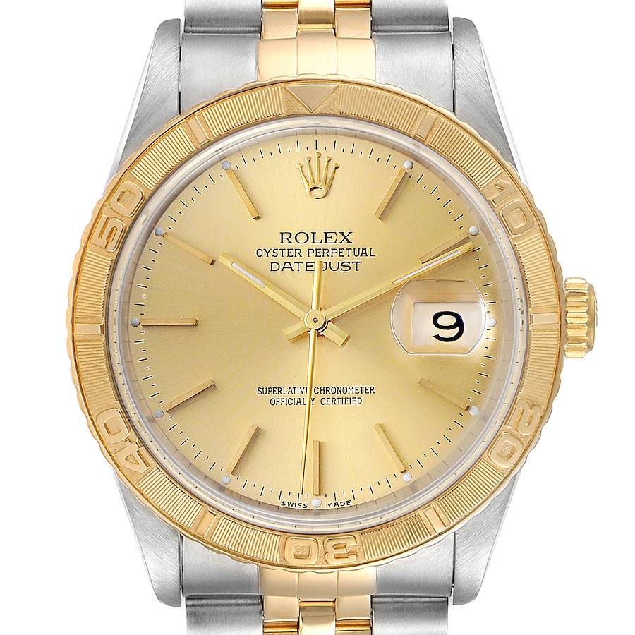 Rolex Datejust Turnograph Steel Yellow Gold Mens Watch 16263 Box SwissWatchExpo