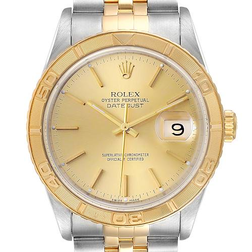 Photo of Rolex Datejust Turnograph Steel Yellow Gold Mens Watch 16263 Box